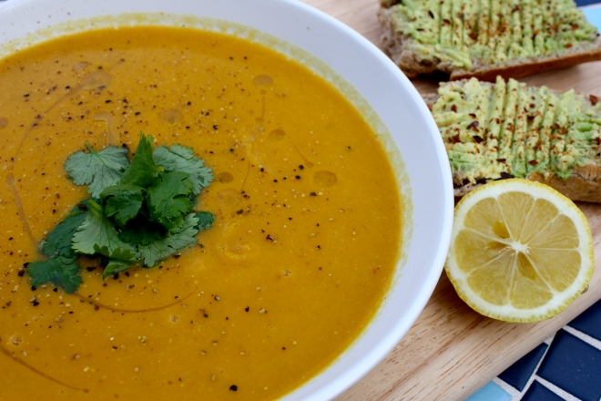 vegan carrot red lentil soup