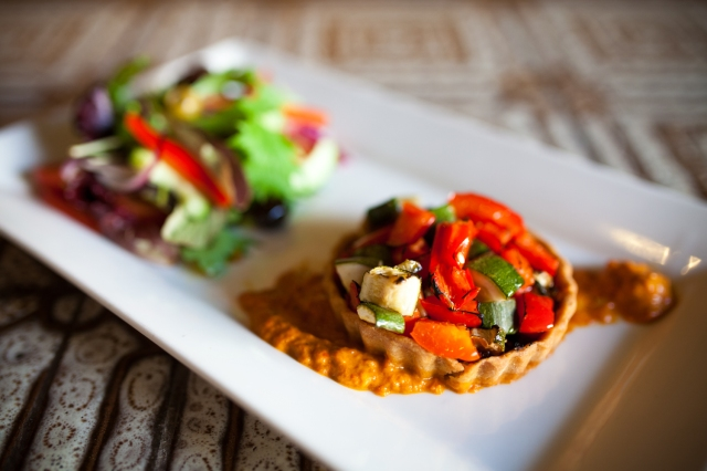 vegan courgette & roasted pepper tart