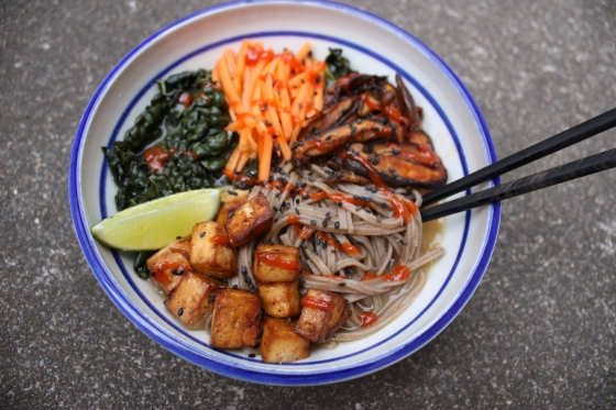 Miso soba noodle bowl with spicy roasted tofu and shiitake mushrooms ...