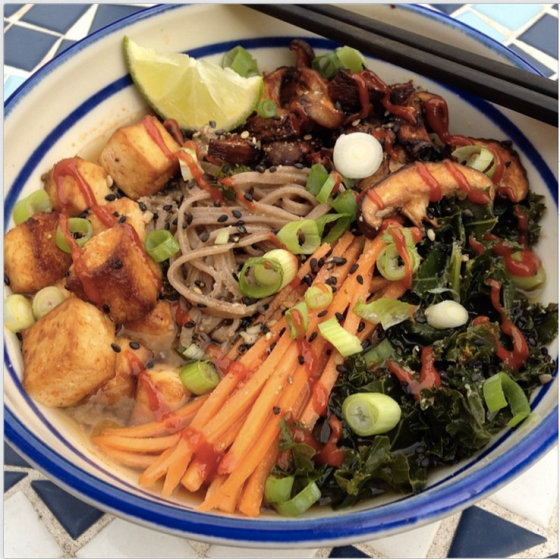 Miso soba noodle bowl with spicy roasted tofu and shiitake ...