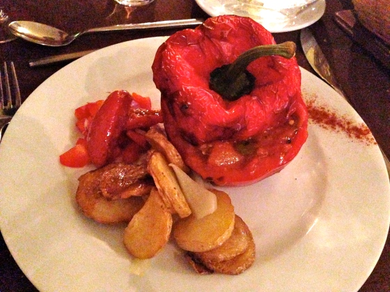stuffed red pepper main dish with roasted potatoes