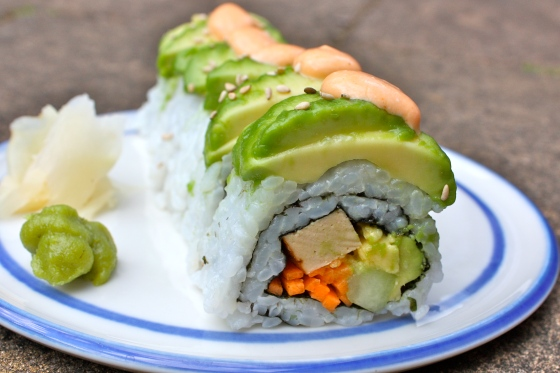 vegan dragon sushi roll
